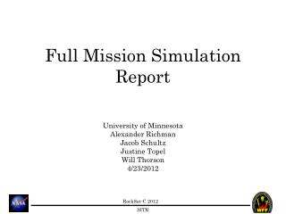 Full Mission Simulation Report