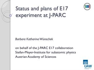 Status and plans of E17 experiment at  J- PARC