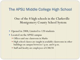 The APSU Middle College High School