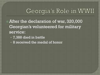 Georgia's Role in WWII