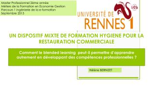 UN DISPOSITIF MIXTE DE FORMATION HYGIENE POUR LA RESTAURATION COMMERCIALE