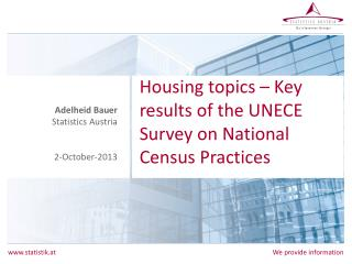Housing topics – Key results of the UNECE Survey on National Census Practices