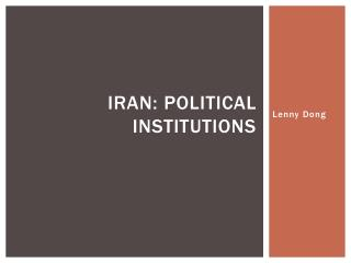Iran: Political Institutions