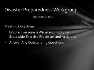 Disaster Preparedness Workgroup