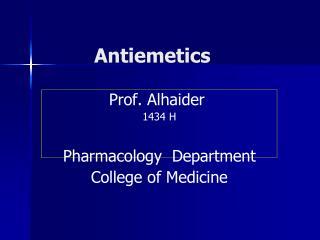 Antiemetics