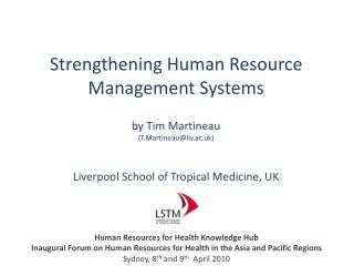 Strengthening Human Resource Management Systems