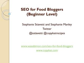 SEO for Food Bloggers ( Beginner Level)