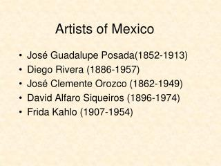 Artists of Mexico