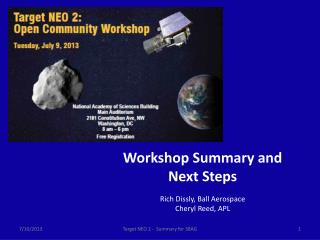 Workshop Summary and Next Steps