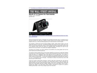 Worth It A Camera for Narcissists(THE WALLSTREET JOURNAL)