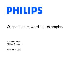 Questionnaire wording - examples