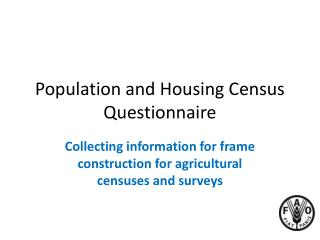 Population and Housing Census Questionnaire