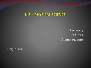 NIS – PHYSICAL SCIENCE