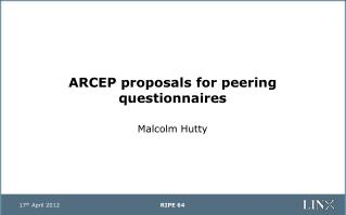 ARCEP proposals for peering questionnaires