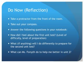 Do Now (Reflection)