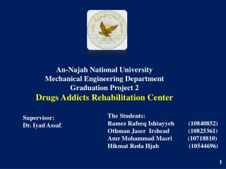 An- Najah  National University Mechanical Engineering Department Graduation Project 2