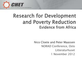 Research for Development and Poverty Reduction Evidence from Africa