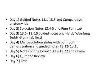 Day 1) Guided Notes 13.1-13.3 and Comparative anatomy lab