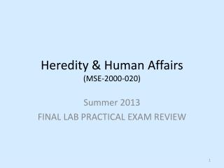 Heredity & Human  Affairs (MSE-2000-020)