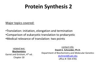 Protein Synthesis 2 Major topics covered: Translation: initiation, elongation and termination