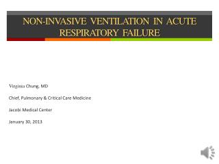 NON-INVASIVE  VENTILATION  IN  ACUTE  RESPIRATORY  FAILURE