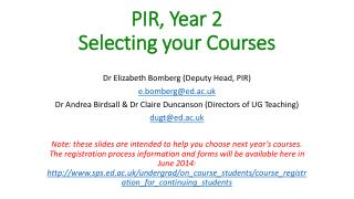 PIR, Year 2 Selecting your Courses