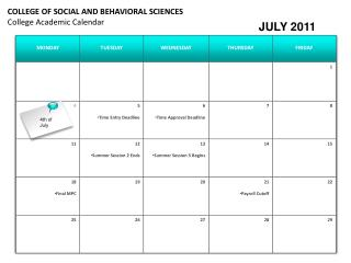COLLEGE OF SOCIAL AND BEHAVIORAL SCIENCES College Academic Calendar