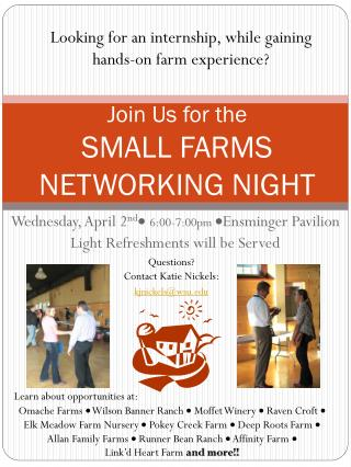 Join Us for the  SMALL FARMS NETWORKING NIGHT