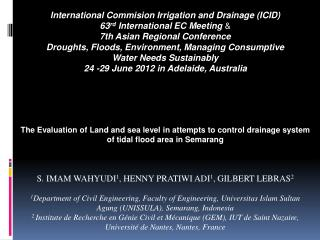 International  Commision  Irrigation and Drainage (ICID)  63 rd  International EC  Meeting  &