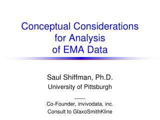 Conceptual Considerations  for Analysis  of EMA Data