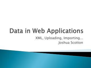 Data in  Web Applications