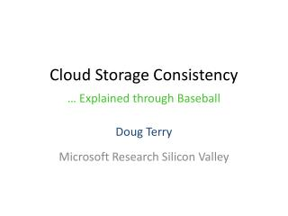Cloud Storage Consistency