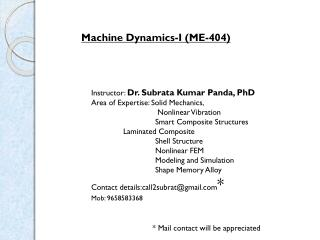 Machine Dynamics-I (ME-404)