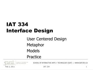 IAT 334 Interface Design