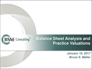 Balance Sheet Analysis and Practice Valuations