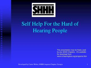 Self Help For the Hard of Hearing People