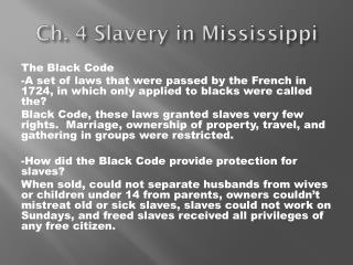 Ch. 4 Slavery in Mississippi