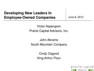 Developing New Leaders In Employee-Owned Companies