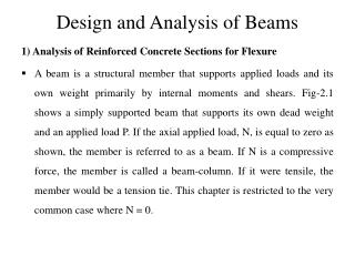 Design and Analysis of Beams