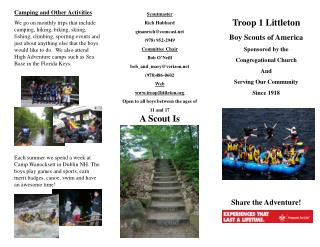 Troop 1 Littleton Boy Scouts of America Sponsored by the Congregational Church And