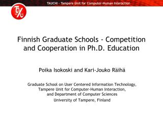 Finnish Graduate Schools - Competition and Cooperation in Ph.D. Education