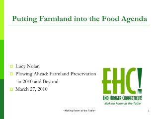 Putting Farmland into the Food Agenda