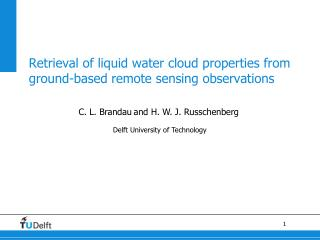 Retrieval of liquid water cloud properties from ground-based remote sensing observations