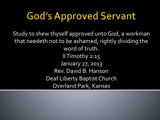 God's Approved Servant