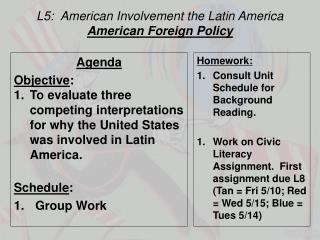 L5:  American Involvement  the  Latin America American Foreign Policy