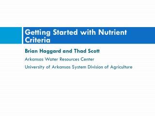 Getting Started with Nutrient Criteria
