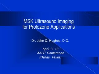 MSK Ultrasound Imaging  for Prolozone Applications