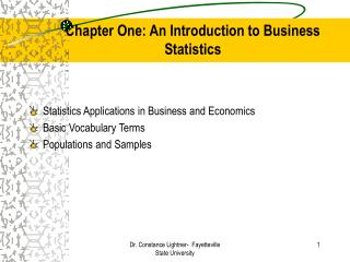 Chapter One: An Introduction to Business Statistics