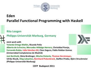 Eden  Parallel  Functional Programming with Haskell