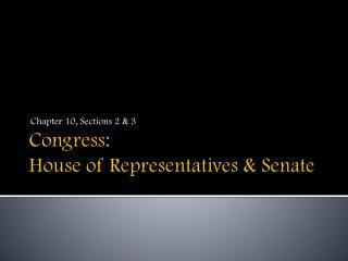 Congress: House of Representatives & Senate